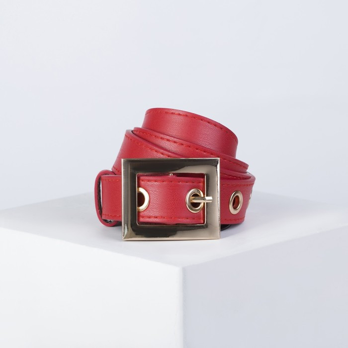Ремень женский, ширина 2,8 см, пряжка металл, винт, люверсы, цвет красный