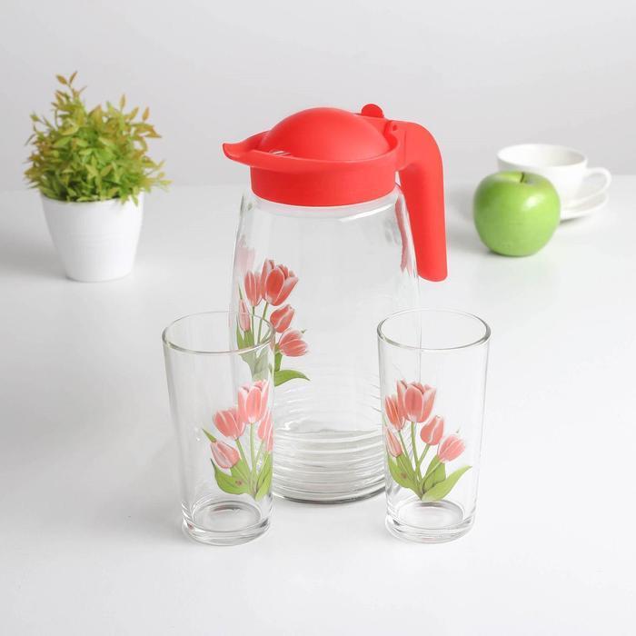 Набор питьевой «Весенние тюльпаны», 3 предмета: кувшин 1,3 л, стакан 230 мл 2 шт