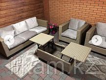 Комплект мебели из ротанга: трехместный диван, два кресла с раскладным столиком, фото 2