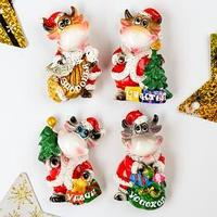 Магнит полистоун 'Бычок в костюме Деда Мороза' МИКС 6,8х4,8х2 см (комплект из 12 шт.)