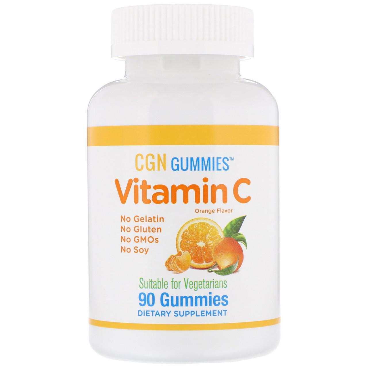 Жевательные таблетки с витамином C, натуральный апельсиновый вкус, без желатина, 90 жевательных таблеток