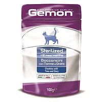Gemon Cat Pouch Sterilised паучи для стерилизованных кошек кусочки тунца с рыбой дори 100 г