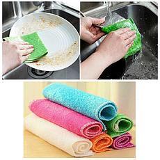 Бамбуковая салфетка для мытья посуды 18х23 см зеленый, фото 3