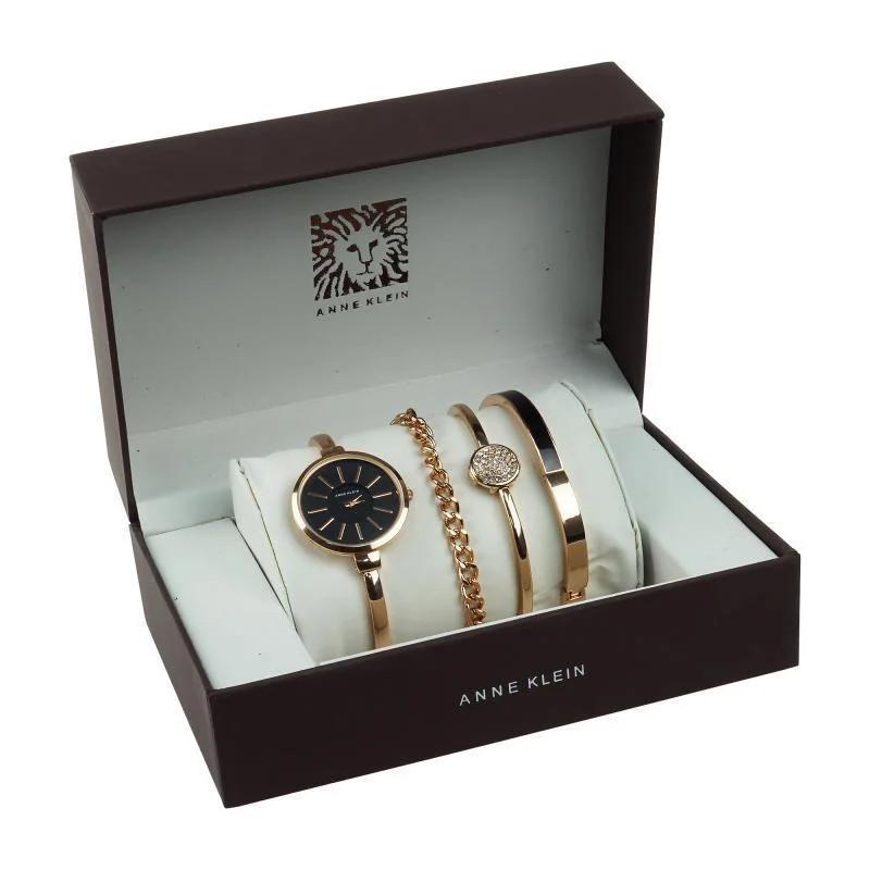 Часы в подарочной упаковке Anne Klein розово-золотистый + черный - фото 1