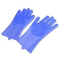 Силиконовые перчатки для мытья посуды голубой