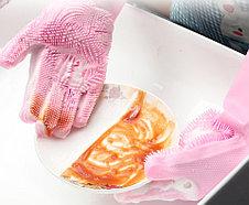 Силиконовые перчатки для мытья посуды голубой, фото 3
