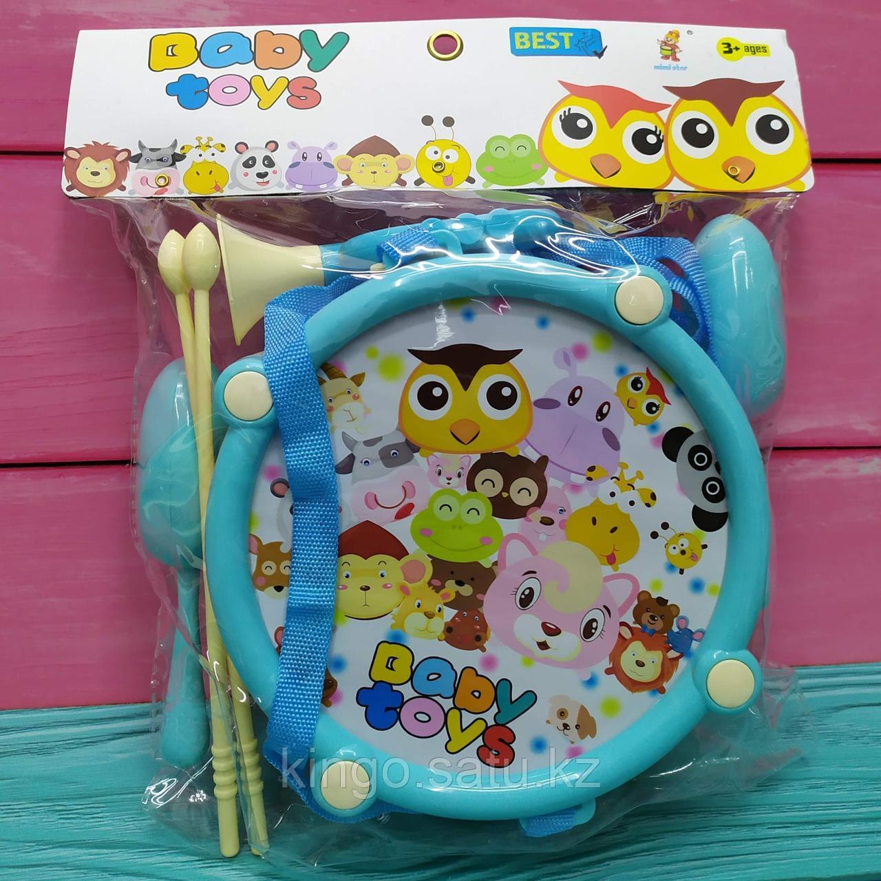 Набор детских музыкальных инструментов - барабан, маракас, флейта