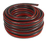 Шланг поливочный армированный 1/2 дюйма, 25 м черно-красный Вихрь