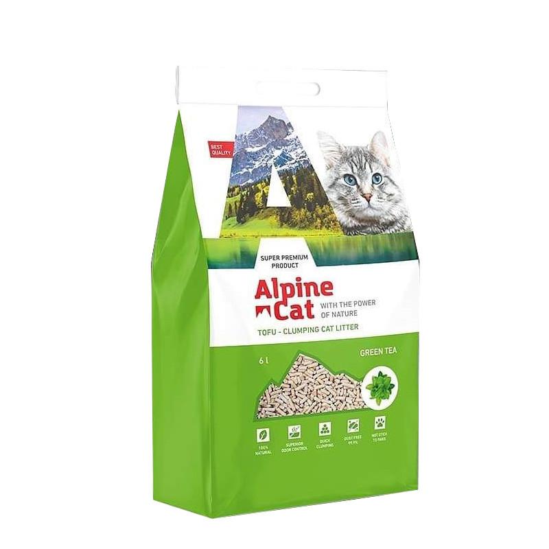 Alpine cat Тофу Наполнитель соевый Зелёный чай, 6 л