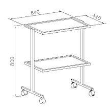 Столик передвижной, полки металлические, окрашенные краской, ц/м, 640х440х800 мм