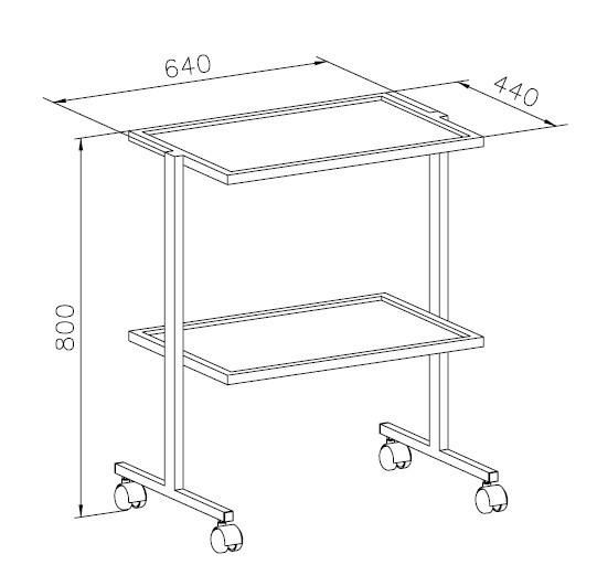 Столик передвижной, 1 ящик, полка стеклянная, ц/м, 640х440х800 мм