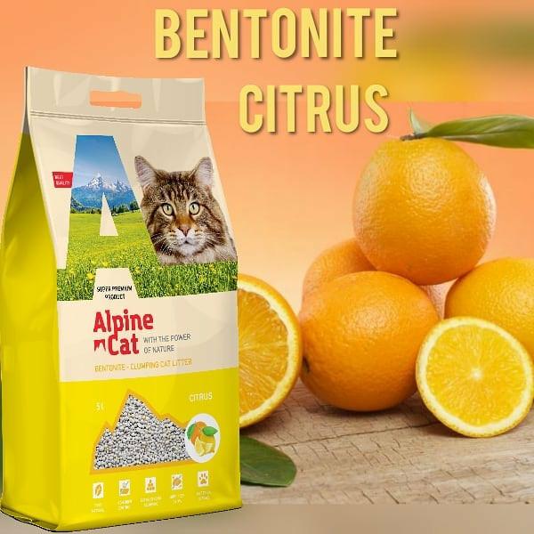 Комкующийся минеральный наполнитель Alpine cat Цитрус