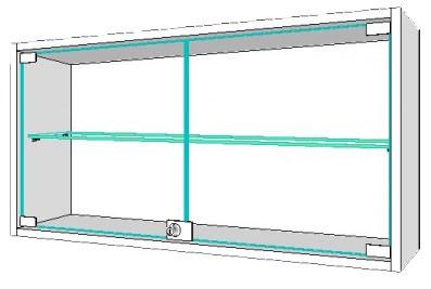 Шкаф навесной, стеклянная полка, ц/м, 600х300х600