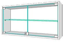 Шкаф навесной, стеклянная полка, ц/м, 800х300х600