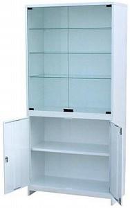 Шкаф для приборов, дверцы двустворчатые верхние стекло, одностворчатая нижняя металл, замок, ц/м, 600х400х1800 мм