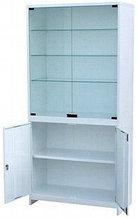 Шкаф для приборов, дверцы двустворчатые верхние стекло, одностворчатая нижняя металл, замок, ц/м, 600х500х1800 мм