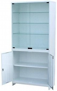 Шкаф для приборов, дверцы двустворчатые верхние стекло, нижние металл, замки, ц/м, 800х500х1800 мм