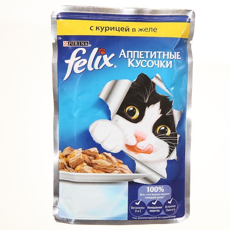 Влажный корм Феликс для кошек Курица желе