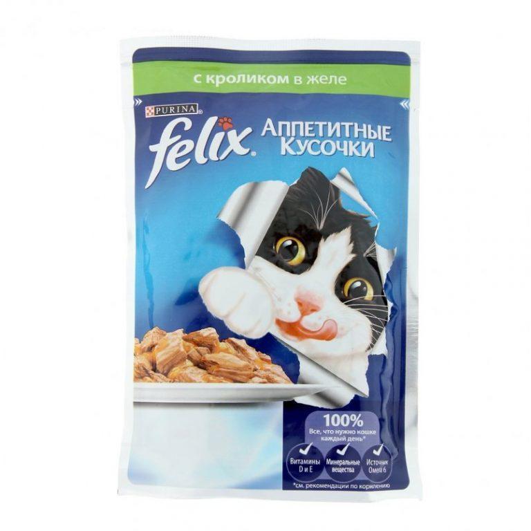 Влажный корм Феликс для кошек Кролик желе