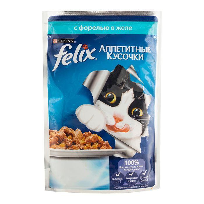 Влажный корм Феликс для кошек Форель желе
