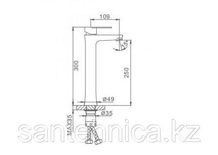 Смеситель для раковины Frap F1048-2 высокий нерж. сталь, фото 2