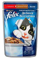 Влажный корм Феликс для кошек Двойной вкус Говядина/птица