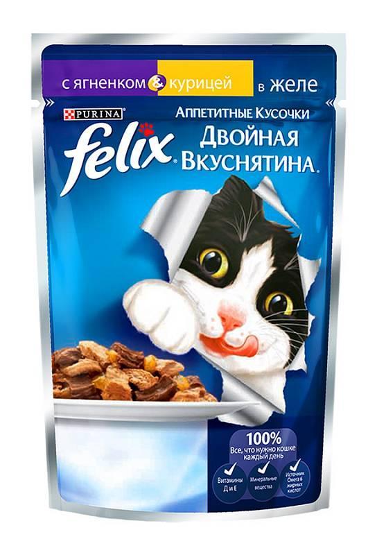 Влажный корм Феликс для кошек Двойной вкус Ягнёнок/курица