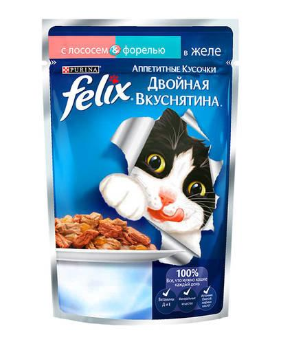 Влажный корм Феликс для кошек Двойной вкус Лосось/форель