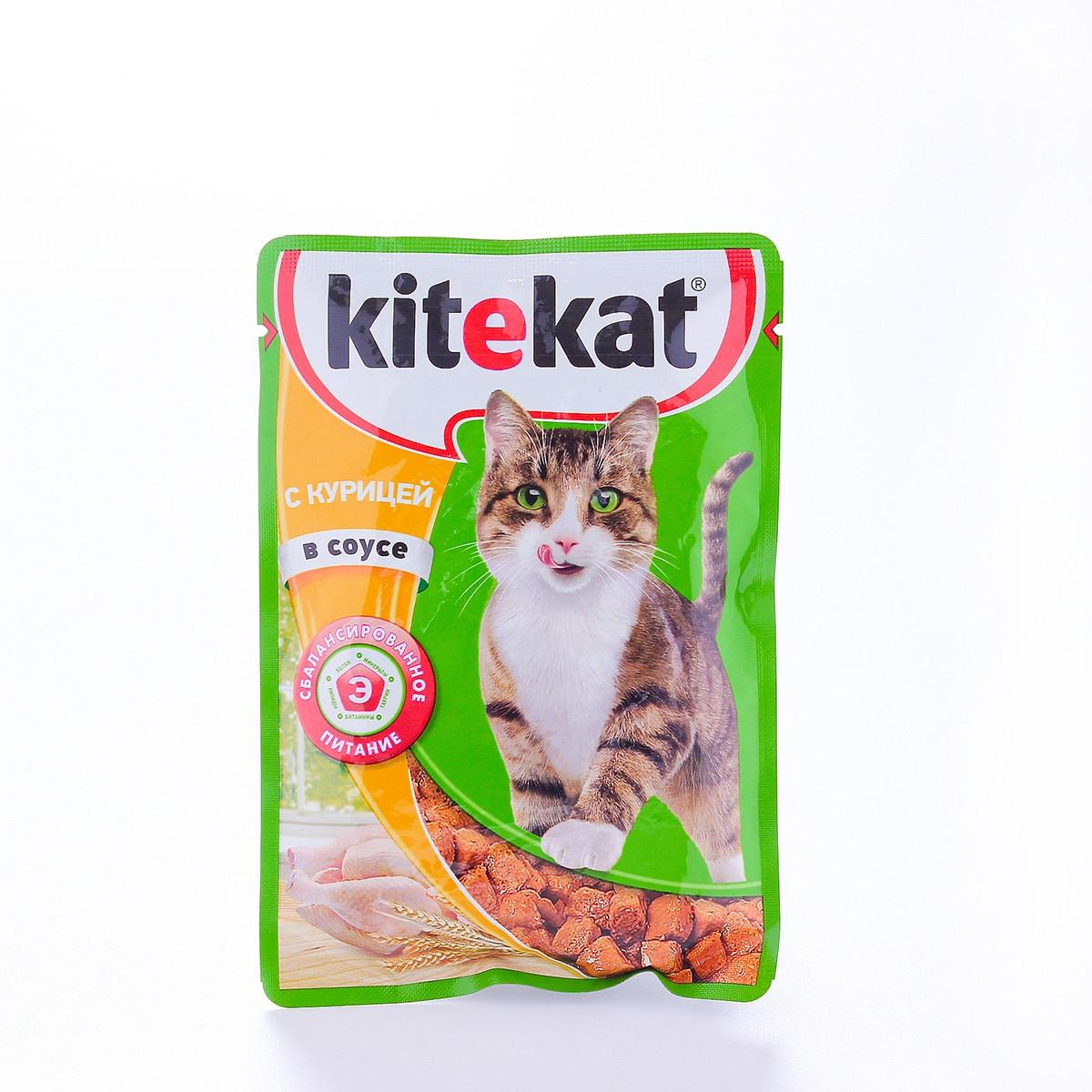 Влажный корм для кошек Китекет Курица в соусе