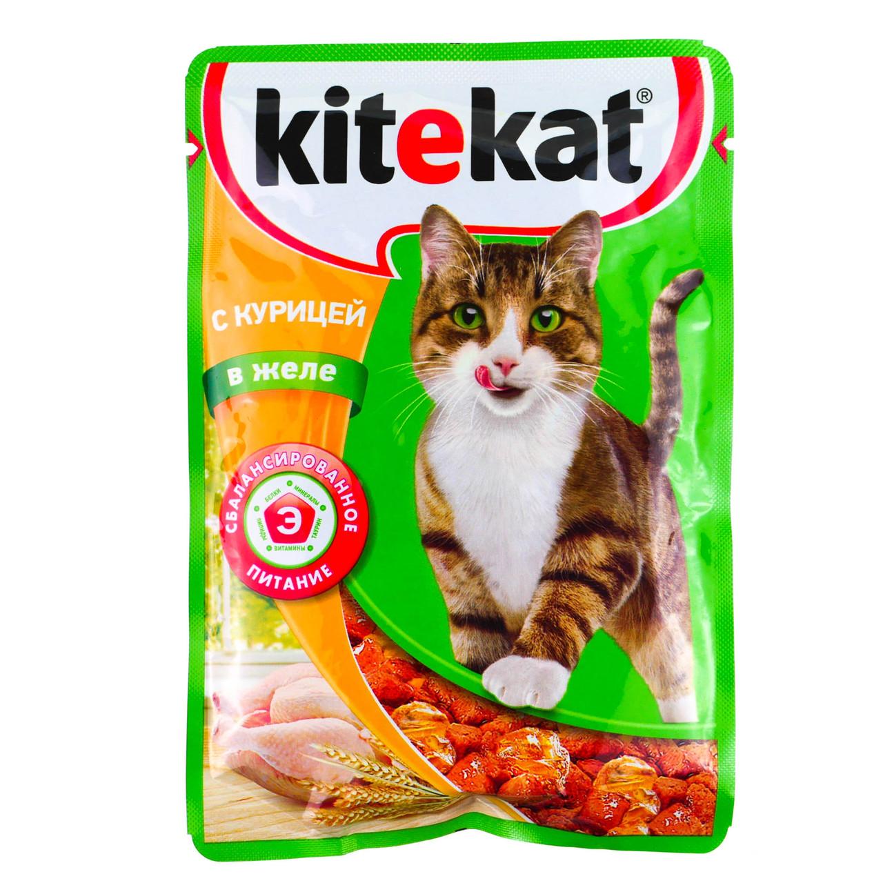 Влажный корм для кошек Китекет Курица в желе