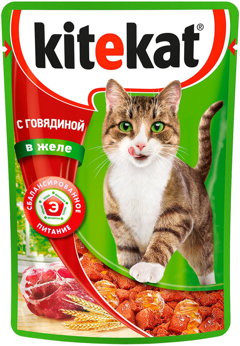 Влажный корм для кошек Китекет Говядина в желе