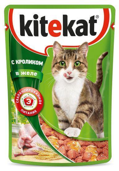 Влажный корм для кошек Китекет Кролик в желе