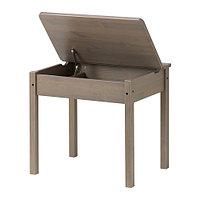 Стол с отделением для хранения СУНДВИК, серо-коричневый, ИКЕА, IKEA, фото 1