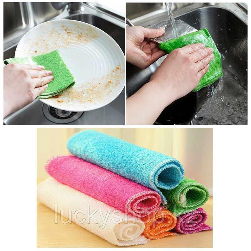 Бамбуковая салфетка для мытья посуды 18х23 см зеленый