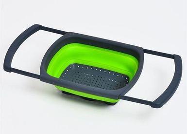 Дуршлаг силиконовый складной с выдвижными ручками (Зеленый)