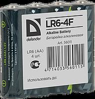Батарейка алкалиновая Defender LR6-4F AA  в пленке 4шт 56011