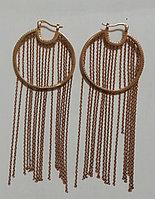 Серебряные серьги-конго (кольца) из красной позолотой и цепями. Вставка: белые фианиты, вес: 13,1 гр