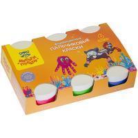 Мульти-Пульти Краски пальчиковые, Морские приключения Енота, 6 цветов, 360 гр, флуоресцентные.