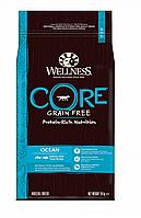 Сухой беззерновой корм для собак всех пород Wellness Core Adult Ocean лосось с тунцом