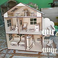 Кукольный эко домик для маленьких кукол (в комплекте 12 предметов мебели )
