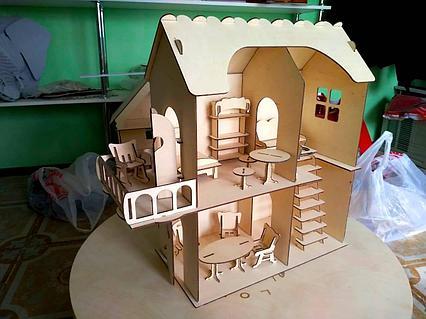 Кукольный эко домик для маленьких кукол (в комплекте 12 предметов мебели)