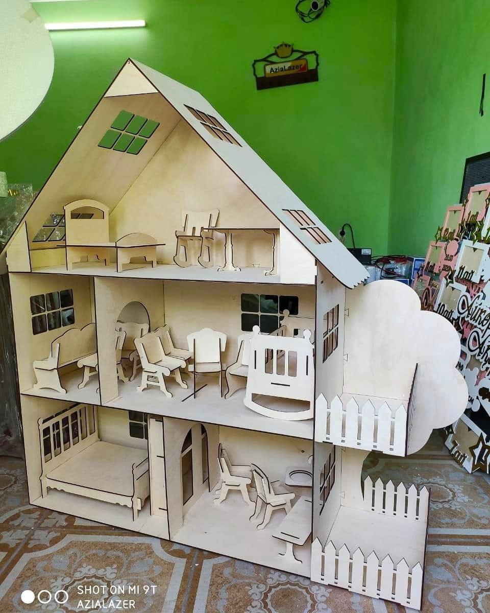 Большой кукольный эко домик (в комплекте 17 преметов мебели)