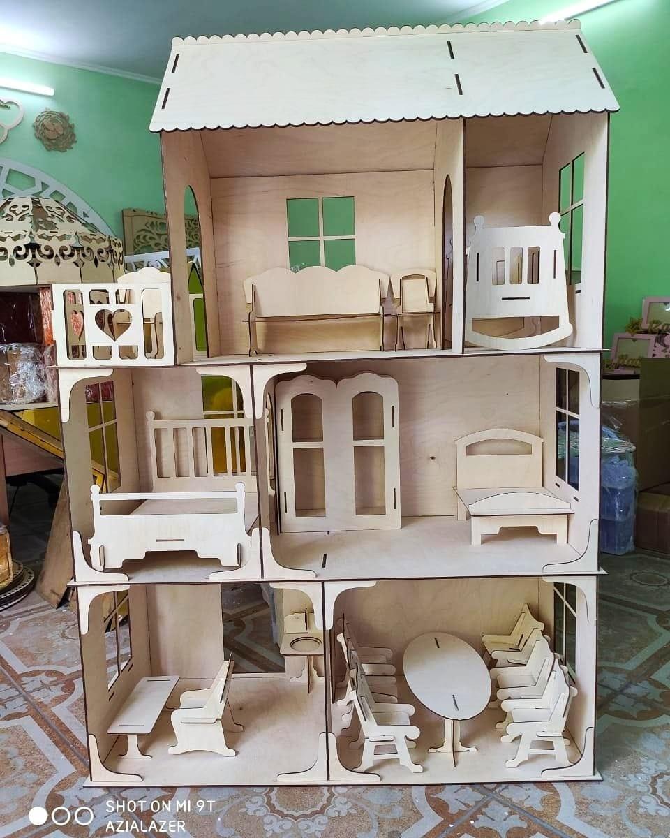Большой кукольный эко домик (в комплекте 17 предметов мебели)