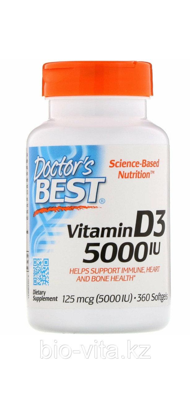 Doctor's Best, Витамин Д3 5000 IU  360 капсул.