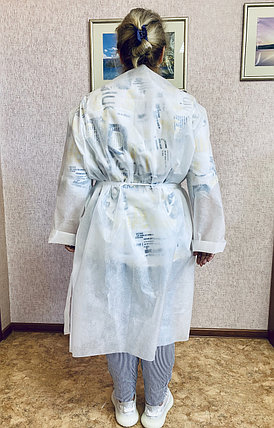 Халат защитный одноразовый с запАхом спереди., фото 2