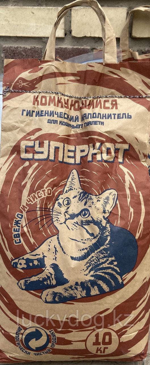 Комкующийся наполнитель для кошачьего туалета Супер кот 10кг
