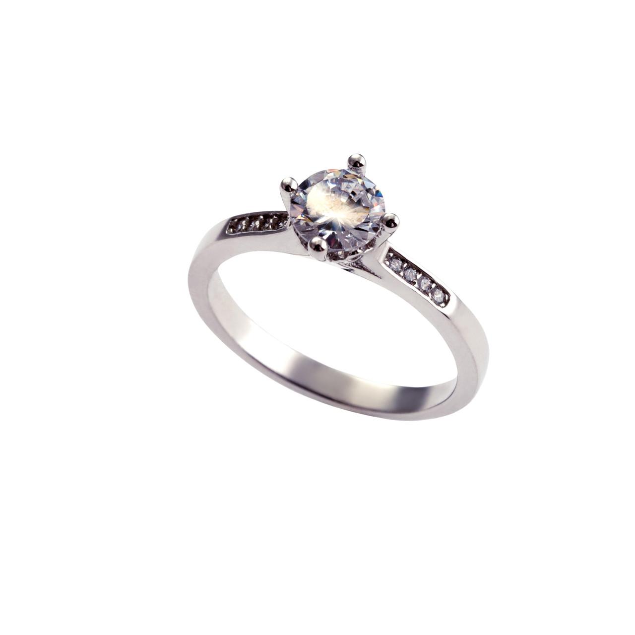 Серебряное кольцо Помолвочное с фианитом. Вставка: белые фианиты, вес: 2,6 гр, размер: 17, покрытие