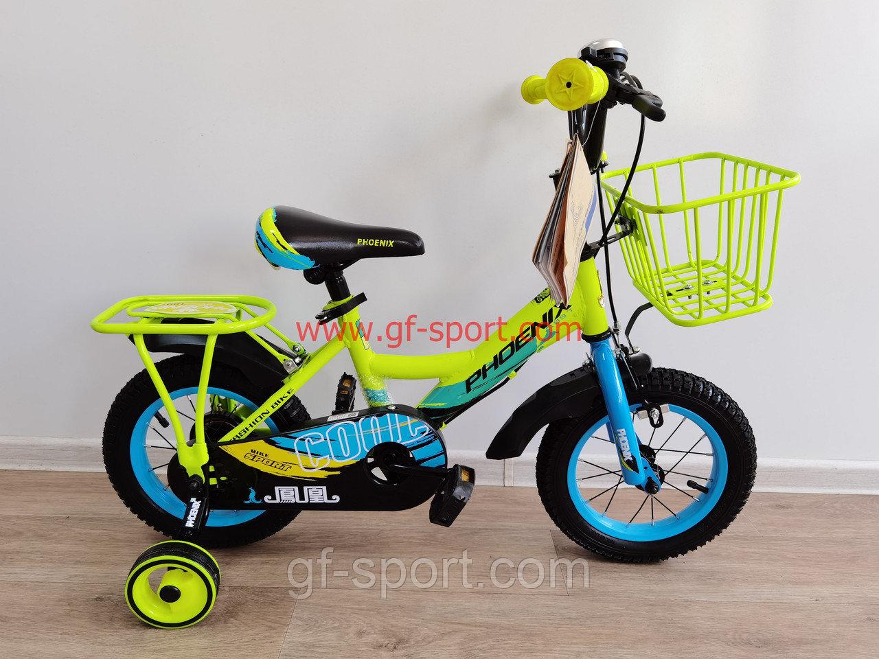 Велосипед Phoenix салатово - голубой оригинал детский с холостым ходом 12 размер