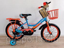 Велосипед Phoenix оранжево - голубой  оригинал детский с холостым ходом 16 размер