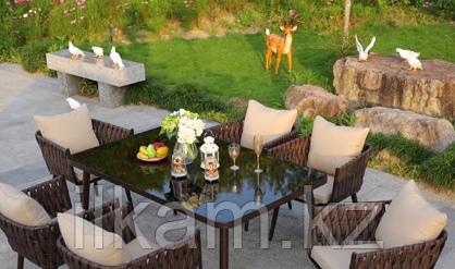 Комплект мебели  стол прямоугольный , 6 кресел продольного плетения
